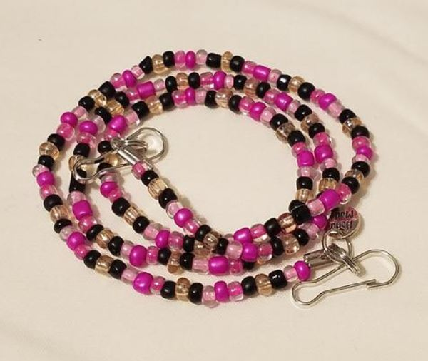 Pink and Black Mask Lanyard