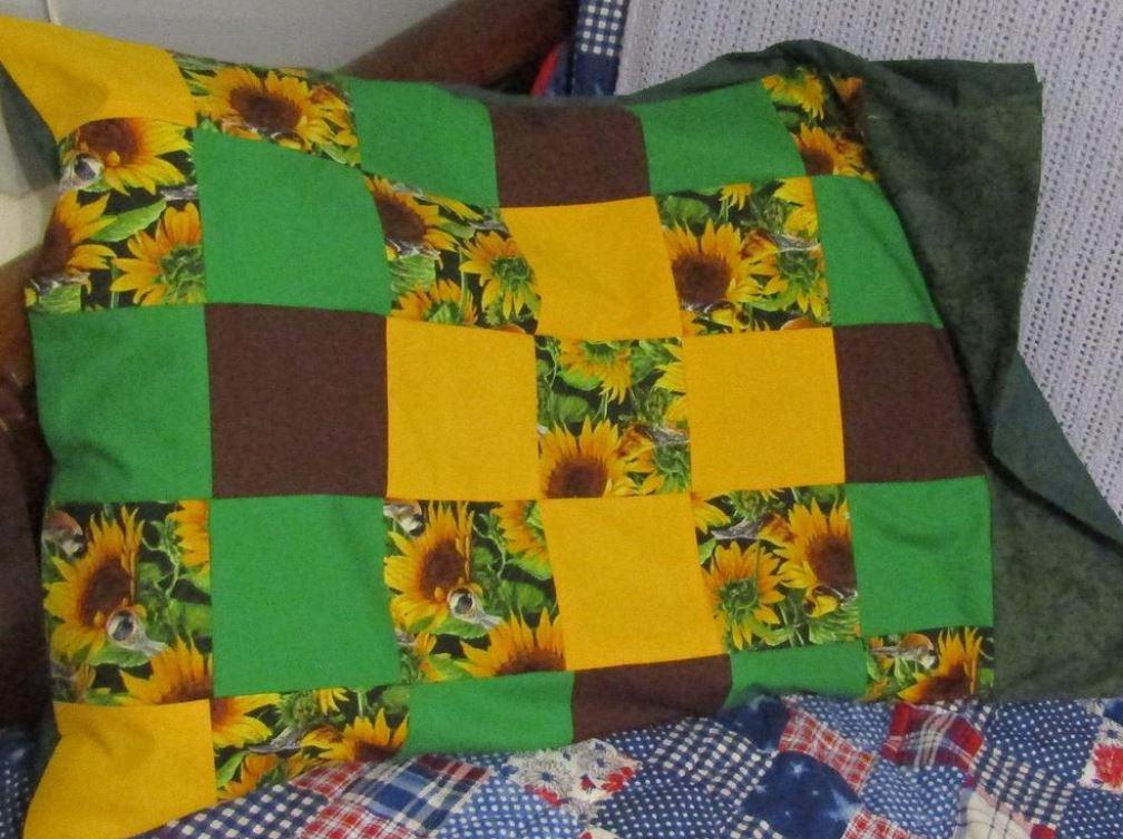 Sunflower quilt pillowcase